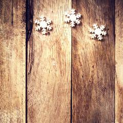 Vintage Christmas Card with white snowflakes. Christmas decorati