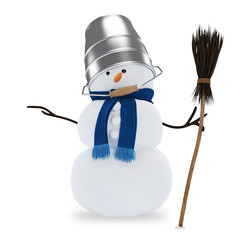 Snowman with a bucket and a broom