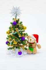 Christmas tree, teddy bear