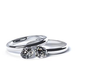 2つの指輪と宝石のCG