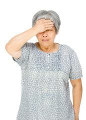 Senior asian woman feel sick