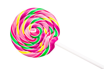 Sweet Colorful Spiral Lollipop On White Background