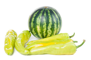 Green striped watermelon and peppers
