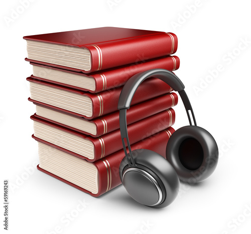 Books with audio headphones. 3D Icon isolated on white backgroun