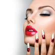 Fashion Beauty Model Girl. Manicure and Make-up. Nail art