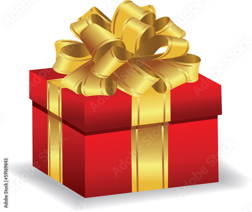 Red giftbox with gold bow vector