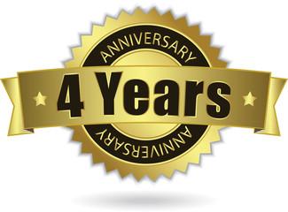 """4 Years Anniversary"" - Retro Golden Ribbon, EPS 10 vector"