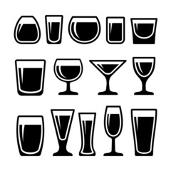 Set of drink glasses icons