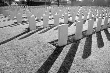 Tumbstones in war cemetery of Cassino