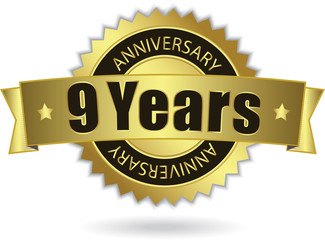 """9 Years Anniversary"" - Retro Golden Ribbon, EPS 10 vector"