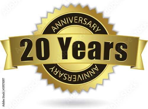 """20 Years Anniversary"" - Retro Golden Ribbon, EPS 10 vecto"