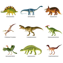 Dinosaurs isolated on white vector set
