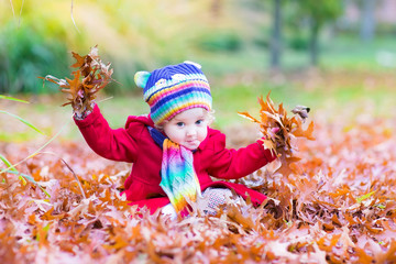 Adorable toddler girl playing with red leaves in an autumn park