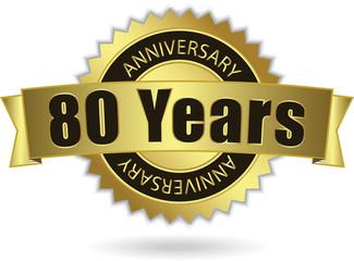 """80 Years Anniversary"" - Retro Golden Ribbon, EPS 10 vector"