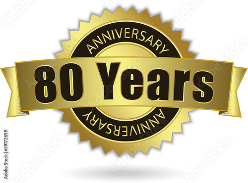 """80 Years Anniversary"" - Retro Golden Ribbon, EPS 10 vector"