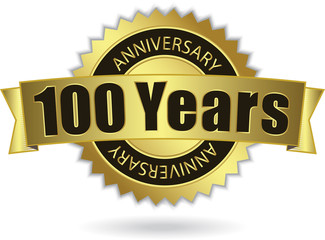"""100 Years Anniversary"" - Retro Golden Ribbon, EPS 10 vector"