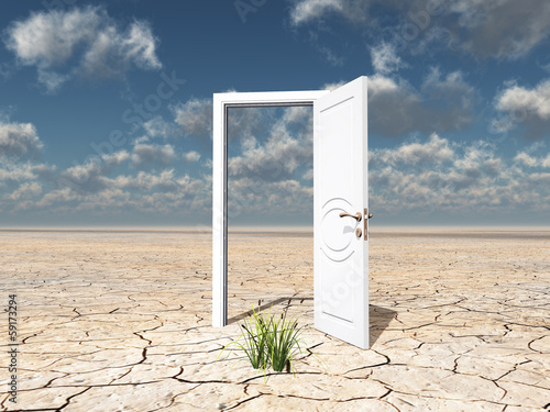 Single white door
