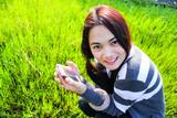 young beautiful asian girl romantic teenage model enjoy with sma poster