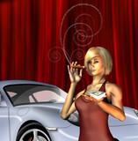 Wealthy Girl with sports car smoking cigar with text for smoke poster