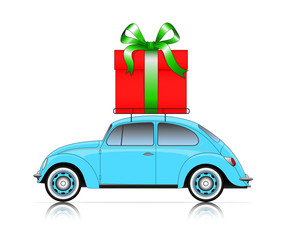 blue car with present