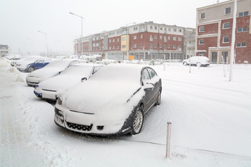 Heavy snowfall over night in Poland