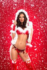 beautiful  and sexy Santa helper