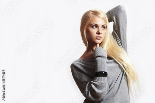 Beautiful blond woman in dress.accessories.fashion.isolate