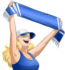 Woman Holds Sports Team Scarf and Shouts