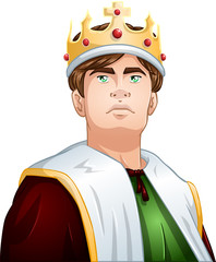 Young King With Crown Shoulders Up