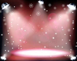 Christmas Concert with spotlights and sowflakes on red