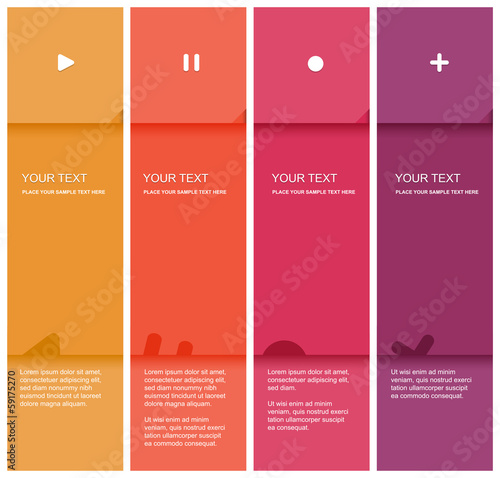 4 color flat design template - Vector Illustration