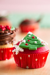 Christmas cupcake with  decorative symbols