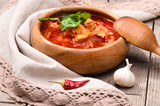 Ukrainian and russian national red borsch