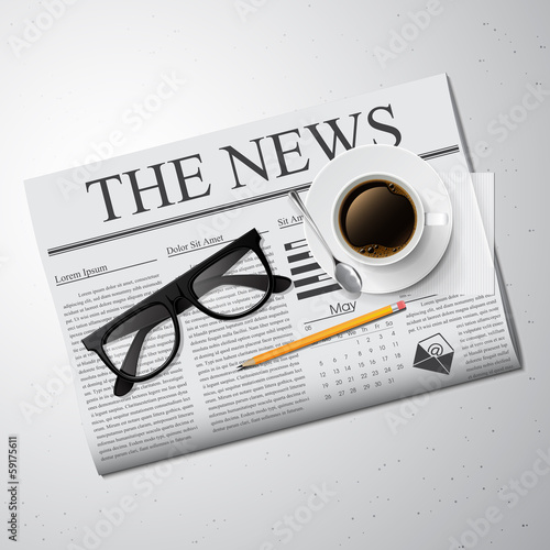 Cup of coffee, newspaper and glasses. Vector illustration