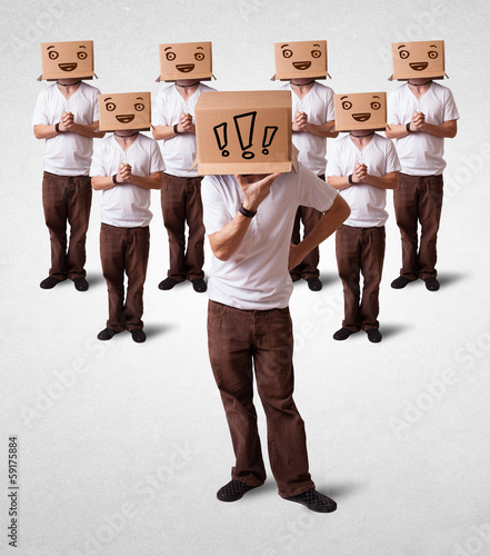 Men gesturing with exclamation marks on box on their head