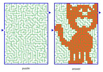 Сhild's picture puzzles, draw a line in maze and discovers image