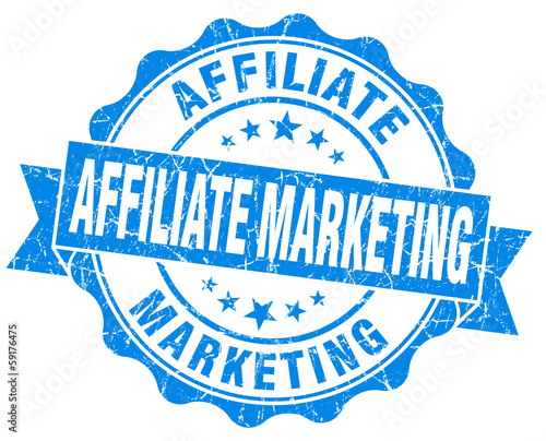 Affiliate marketing blue grunge vintage old style seal