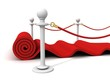 Red Rolling Velvet Carpet with Rubber Stanchions