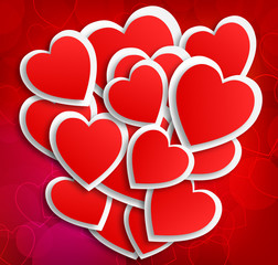 Lot of hearts on red background
