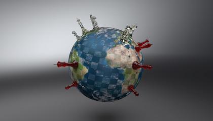 Globe échiquier - Pions rouge et blanc