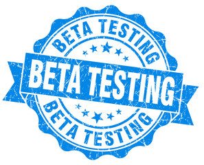 Beta testing blue vintage scratched seal on white background