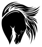 black horse head with long mane vector design