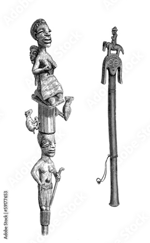 Traditional African Sculptures : Chief's Staff