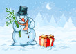 Christmas snowman and red gift box with bow over winter forest