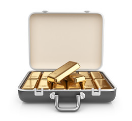 Briefcase full of gold bars. 3D Icon isolated on white backgroun