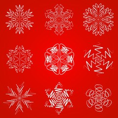 White snowflakes on red background. Vector. Ilustration. Wave.