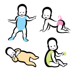 cheerful active baby vector symbols collection