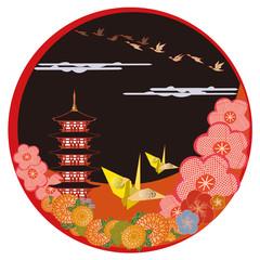 おりがみと日本の風景 Japanese paper crafts and flowers.