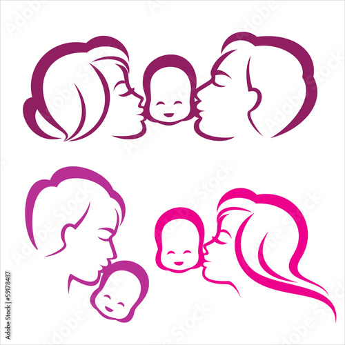 happy family silhouette, vector symbols collection