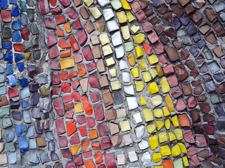Abstract texture of the glass rod and smalt mosaics